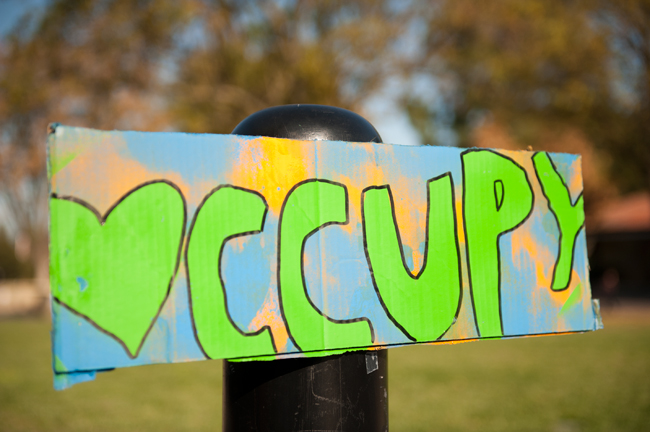 Signs were posted to draw attention to the Occupy the Future activities.