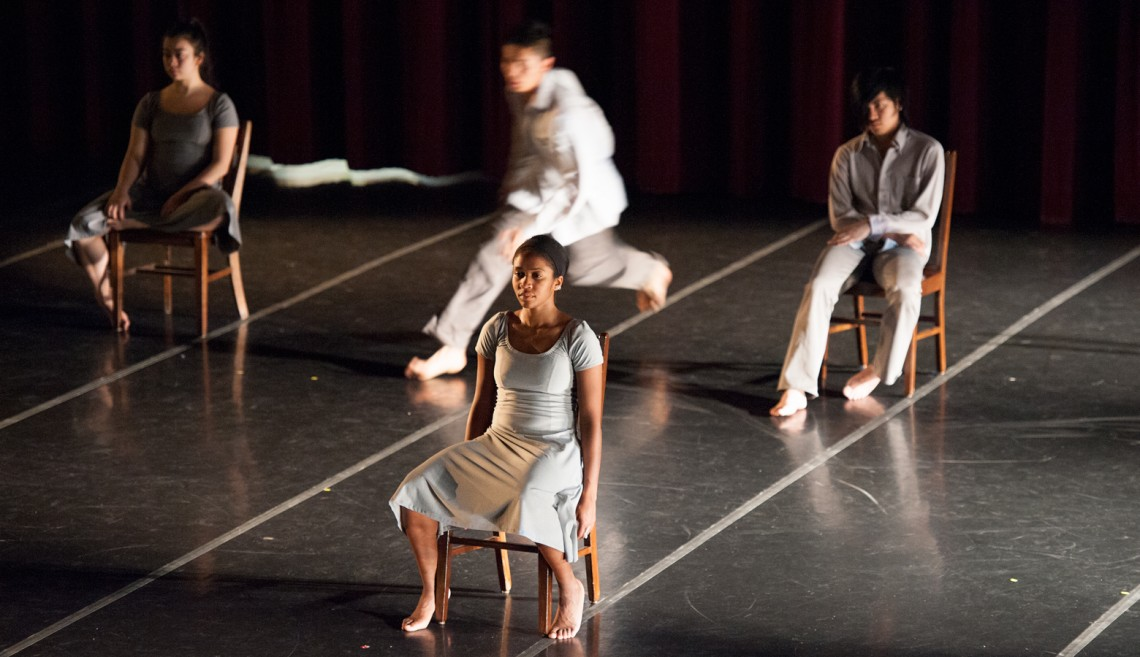 CC Chiu, Nia-Amina Minor, IJ Espinoza and Gary Champi rehearse a section from Rooms.