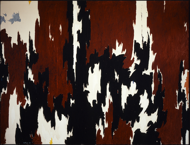 Part of the Anderson Collection at Stanford University: Clyfford Still, '1957-J No. 1 (PH-142),' 1957, oil on canvas, 113 1/2 x 146 1/5 in.