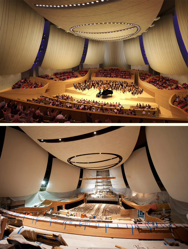 Bing Concert Hall (top) Artist's rendering (bottom) Construction progress