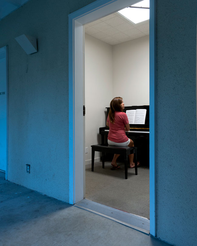 Senior Stephanie Webb, a classical piano performance major, uses the practice rooms in Rains Housing.