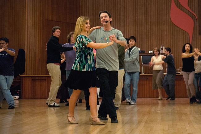 Stanford dance instructor Richard Powers and Mirage Marrou demonstrate a waltz step.