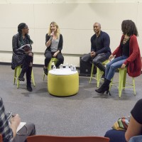 Art is my Occupation, Q&A with Microphone Check co-hosts Frannie Kelley and Ali Shaheed Muhammad.  Student interviewers junior Sojourner Ahébée, left, and senior Jess Spicer, right.