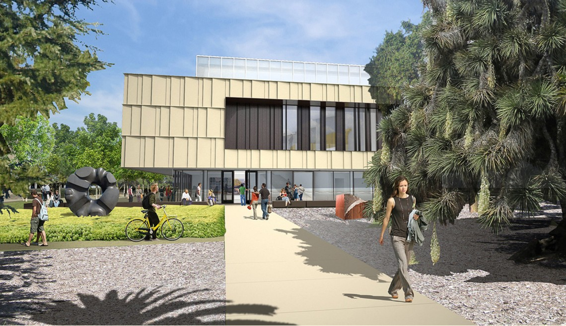 Architectural rendering of the main entry of the Anderson Collection at Stanford University building.