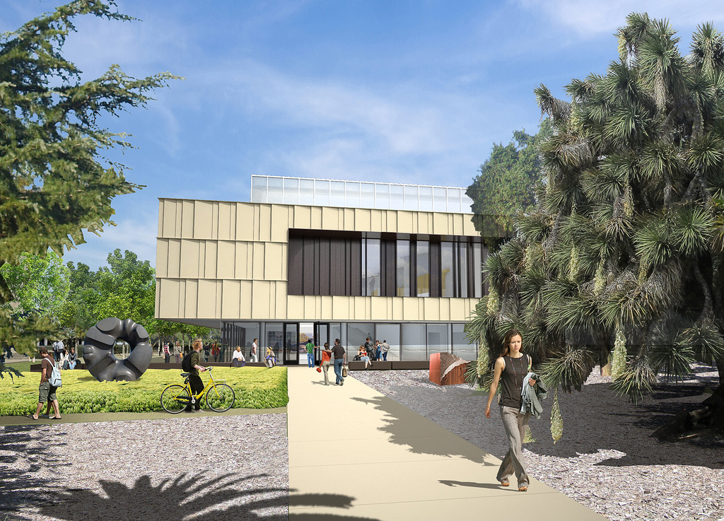Architectural rendering of the main entry of the Anderson Collection at Stanford University building, designed by Ennead Architects.