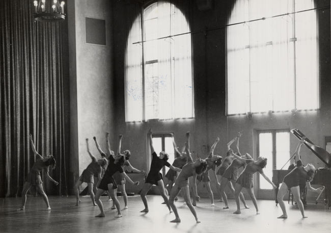 Stanford dancers in Roble Gym, circa 1940s-1950s.
