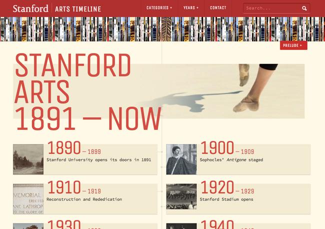 Stanford Arts Timeline homepage