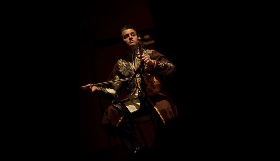 Imamyar Hasanov plays the kamancha at the San Francisco World Music Festival.