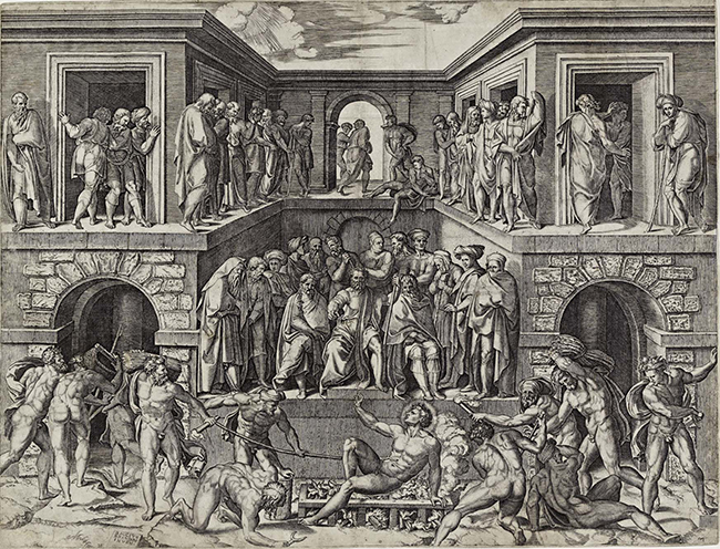 Marcantonio Raimondi (Italy, c. 1470 or 1482–1527 or 1534), Martyrdom of St. Lawrence, c. 1526. Engraving.