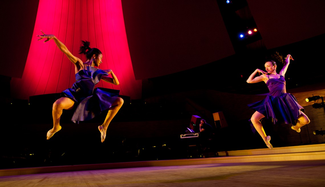 Chocolate Heads dancers Madeline Hawes and Katrina Wisdom perform in 'Xocolatl: Food of the Gods' at Bing Concert Hall on March 8, 2013.