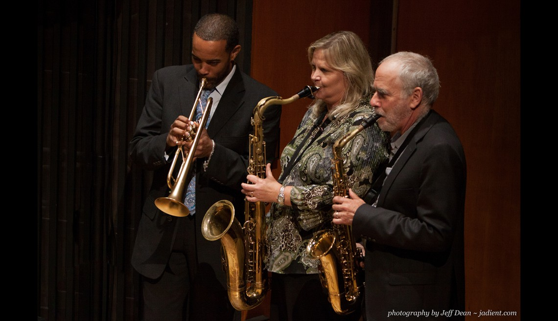 "Festival founder Jim Nadel on alto sax on the right, Jazz Day Camp director Kristen Strom on tenor sax, and Geechi Taylor on trumpet performing at ""Everything You Wanted to Know About Jazz, But Were Afraid to Ask."""