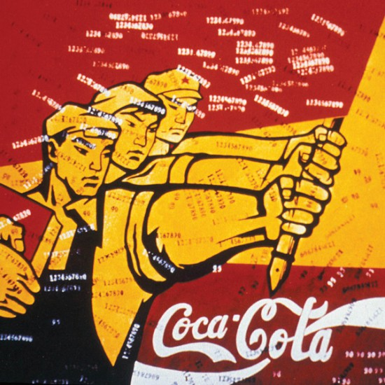 Figure 3: Wang Guangyi, Great Castigation Series: Coca-cola, 1993, oil on canvas, Private Collection. Reproduced in Between State and Market: Chinese Contemporary Art in the Post-Mao era.