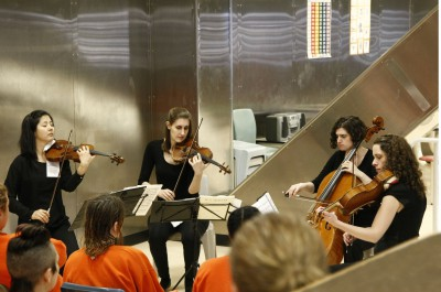 Thumbnail for 'Emerging String Quartet Program musicians find an audience behind bars and beyond'
