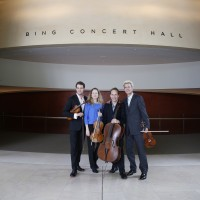 Members of the St. Lawrence String Quartet photographed in the lobby of Bing Concert Hall