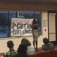 "Abisola Kusimo, the winner of the 2016 Stanford Poetry Out Loud competition, performs Margaret Walker's poem ""For My People."" Photo by Justin Tackett"