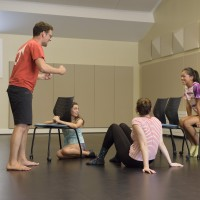 Pre-collegiate Summer Arts Institute Drama class with instructor Felix Abidor, BA '15, and students Eliana Waxman, Abigail Ruegger, Melody Lee.
