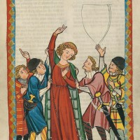 Illustration is taken from the Codex Manesse, a prime source of medieval poetry in German and particularly of courtly love poems. Stanford Professor Kathryn Starkey explores the works of one such poet, Neidhart von Reuental, in a new book. (Image credit: Wikimedia Commons)