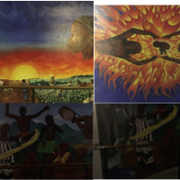 Murals in Ujamaa, a residence hall on the Stanford campus