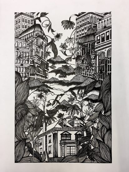 Consumed; Drawing by Annie Ng '20