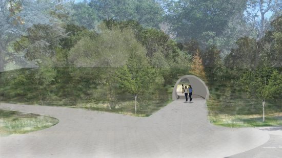 Enhanced entryways—including new pathways and a tunnel—to allow access for all. (Rendering courtesy of CAW Architects)