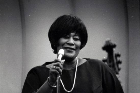 Ella Fitzgerald at Frost for Jazz Year in 1965. Photo credit: Stanford News Service