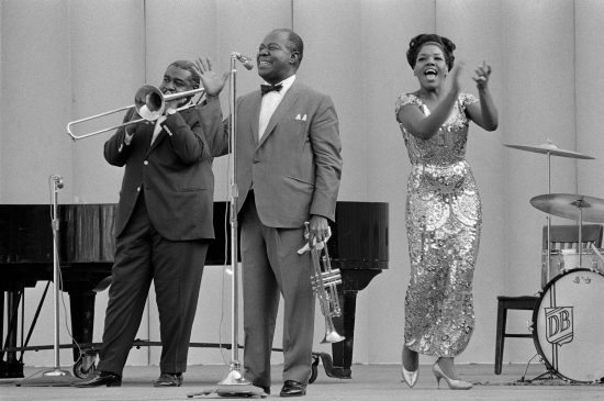 Louis Armstrong at Frost for Jazz Year in 1965. Photo by Chuck Painter for Stanford News Service