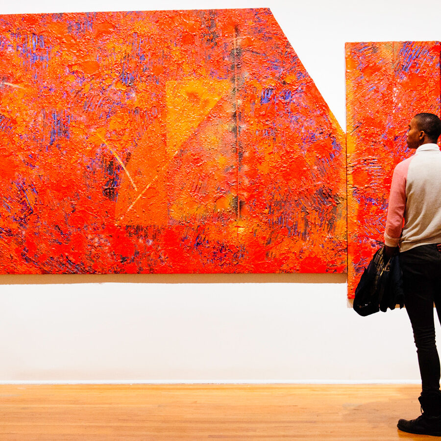 Rob Franklin views Sam Gilliam's 'Lion's Rock Arc' at the Studio Museum in Harlem.